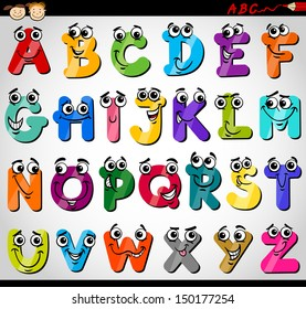 Cartoon Vector Illustration of Funny Capital Letters Alphabet for Children Education