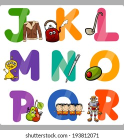 Cartoon Vector Illustration of Funny Capital Letters Alphabet with Objects for Language and Vocabulary Education for Children from J to R