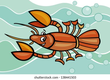 Cartoon Vector Illustration of Funny Crayfish in the Water