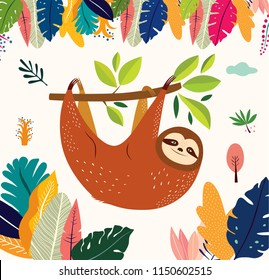 Cartoon vector illustration with funny cute sloth