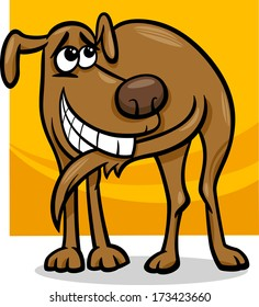 Cartoon Vector Illustration of Funny Dog Chasing his Tail