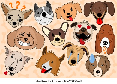 Vector Set Isolated Emotion Puppy Dog Stock Vector Royalty Free
