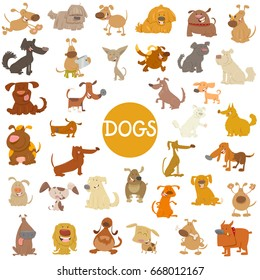 Cartoon Vector Illustration of Funny Dogs Pet Animal Characters Big Set