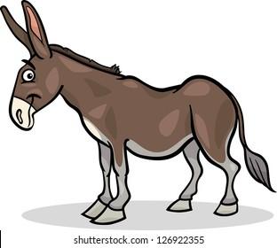 Cartoon Vector Illustration of Funny Donkey Farm Animal