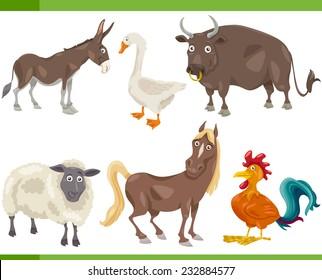 Cartoon Vector Illustration of Funny Farm Animals Set