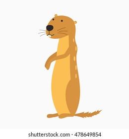 Cartoon Vector Illustration of Funny Gopher Animal