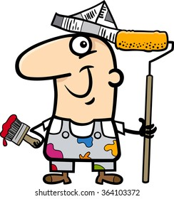 Cartoon Vector Illustration of Funny House Painter Worker