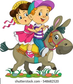 Cartoon. Vector illustration. Funny kids are riding on a donkey.