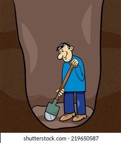 Cartoon Vector Illustration of Funny Man Digging a Big Hole