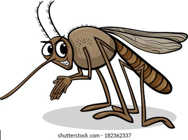 Cartoon Vector Illustration of Funny Mosquito Insect Character