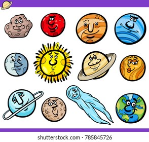 Cartoon Vector Illustration of Funny Orbs and Planets from Solar System Space Comic Characters