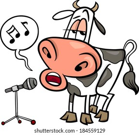 Cartoon Vector Illustration of Funny Singing Cow Character