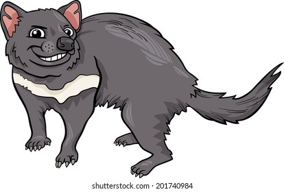 Cartoon Vector Illustration of Funny Tasmanian Devil Marsupial Animal