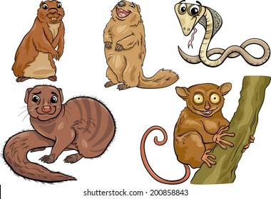 Cartoon Vector Illustration of Funny Wild Animals Characters Set