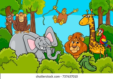 Cartoon Vector illustration of Funny Wild Animal Characters Group