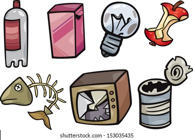 Cartoon Vector Illustration of Garbage or Junk Objects Clip Art Set