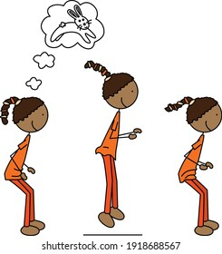 Cartoon vector illustration of a girl exercising - small bunny hops