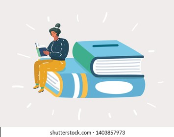 Cartoon vector illustration of а girl reading a book, sitting on big stack.
