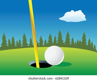 cartoon vector illustration of a golf ball hole