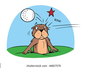 cartoon vector illustration gopher golf ball