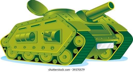 Cartoon vector illustration of a green armored tank