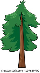 Cartoon Vector Illustration Of Green Conifer Tree Or Spruce Fir Pine
