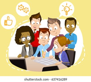 Cartoon vector illustration of group of different ethnicity business people working together, meeting and brainstorming in office