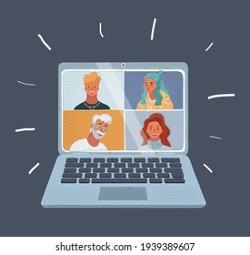 Cartoon vector illustration of Group Friends faces Video Chat Connection Concept on dark background. Woman and man on laptop screen