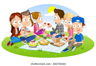 Cartoon Friends Eating Images Stock Photos Vectors Shutterstock