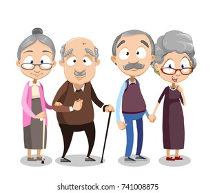 Cartoon vector illustration of group of old people. Happy elderly friends. Grandmother and grandfather friends retirement