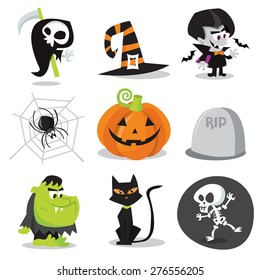 A cartoon vector illustration of halloween characters and objects.