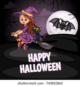 Cartoon Vector Illustration of a Halloween Scene. Beautiful Witch Sitting on a Broom with a Black Cat and Bat on the Moon