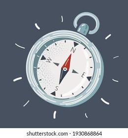 Cartoon vector illustration of hand drawn Compass on dark background.