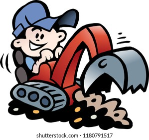Cartoon Vector illustration of a Handyman threre working with his mini excavator