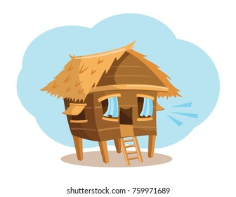 A cartoon vector illustration of a happy bahay kubo (nipa hut)