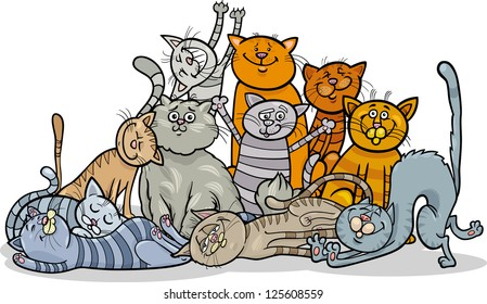 Cartoon Vector Illustration of Happy Cats or Kittens Group