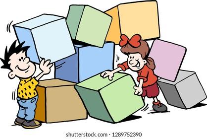 Cartoon Vector illustration of happy Children building with big Bricks