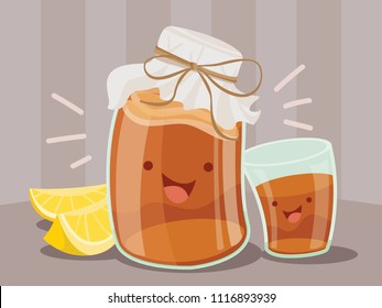 A cartoon vector illustration of a happy covered jar of kombucha beside a glass of tea and some lemons