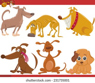 Cartoon Vector Illustration of Happy Dogs or Puppies Pets Set