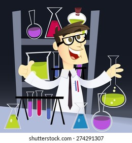 A cartoon vector illustration of a happy geek in science laboratory.