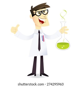 A cartoon vector illustration of a happy and geeky scientist holding a beaker with chemical liquid.