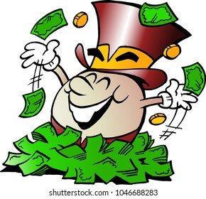 Cartoon Vector illustration of a Happy Golden Egg Mascot sitting in a big pile of Money