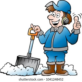 Cartoon Vector illustration of a Happy Handyman Worker with his Snow Shovel