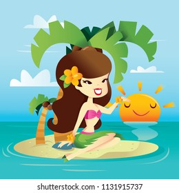 A cartoon vector illustration of a happy hawaiian retro pin up girl on a sunny tropical island.