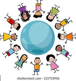 Cartoon Vector Illustration of Happy Multicultural Children around the Globe