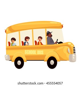 Cartoon vector illustration of happy primary students riding school bus. Traditional yellow schoolbus on the road, driver taking pupils to school trip countryside