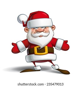 Cartoon vector illustration of a happy Santa Claus welcoming with open arms.