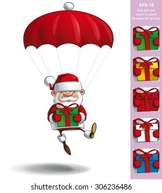 Cartoon vector illustration of a happy Santa Claus falling with a parachute holding a big gift. All gift colors are in-place in separate groups.