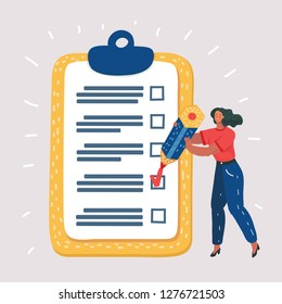 Cartoon vector illustration of Happy smiling woman holding pencil looking at completed checklist on clipboard. Business concept. Human characters on white bakcground.