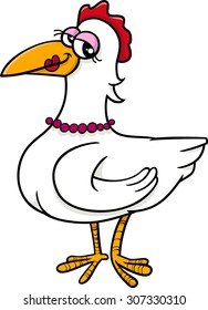 Cartoon Vector Illustration of Hen Farm Bird Animal Character